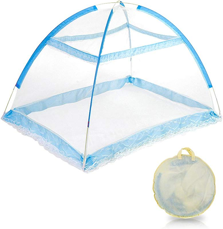 Topwon Pop Up Baby Mosquito Net Automatic Insect Tent Portable Nursery Netting Blue