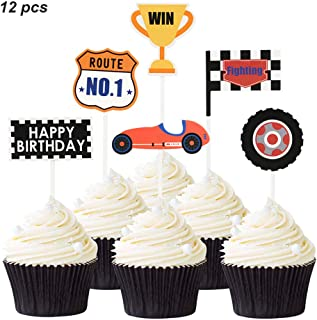 12 PCS Racing Cupcake Toppers Picks Decorations Set, Happy Birthday Racing Car Theme Checkered Flag Cake Toppers Party Supplies Kit for Kids Birthday Baby Shower