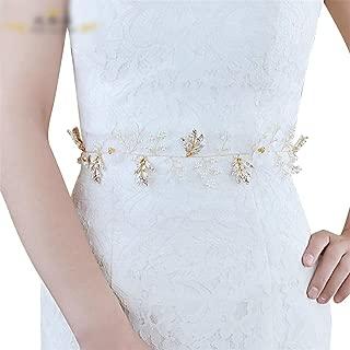 LUKEEXIN Bridal Belt Luxury Pearl Alloy Wedding Dress Accessories Belt (Color : Ivory-Organza)