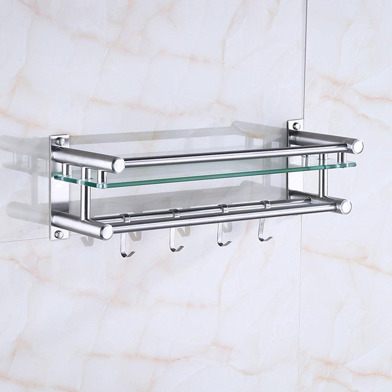 JJJJD Wall Hanging Bathroom Shelf Double Tire Glass Toilet Storage Rack 304 Stainless Steel Towel Rack (Size   40  13  16CM)
