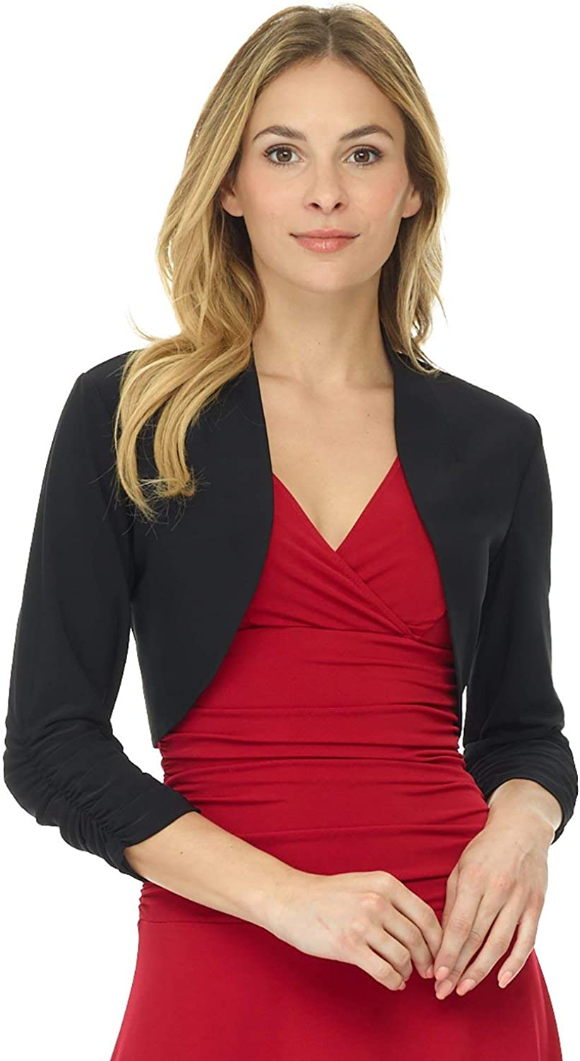 Rekucci Women's Chic Soft Knit Stretch Bolero Shrug with Ruched Sleeves