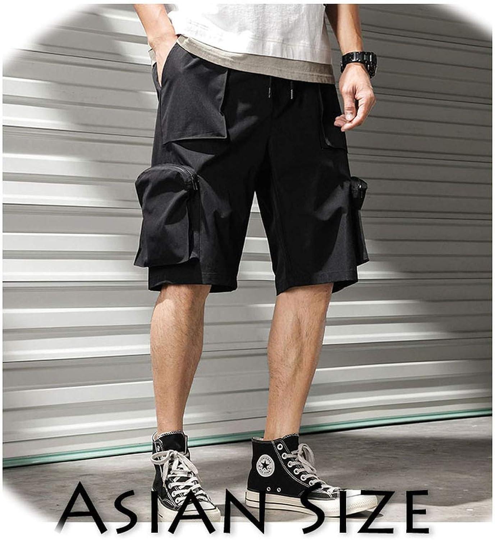 Get-in Mens Shorts Summer Hip Hop Pockets Cargo Shorts Harajuku Fashion Zipper Joggers Sweat Shorts