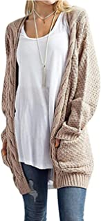 ZHENWEI Women's Cardigans Long Casual Sleeve Loose Open Front Cardigan Sweaters