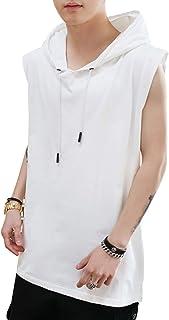 Aokeer メンズ ーニングウェア ノースリーブ ジレベスト フード付き 無地 フィット きれいめ 袖なしパーカー