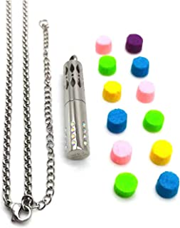 W&J Aroma Pendants&Perfume Necklaces, with 24 Diamonds+Chain(Fixed length 600MM + 100MM length adjustable), Gifts for Birthdays/Anniversaries or Holidays for Family/Friends (Multi-colored)