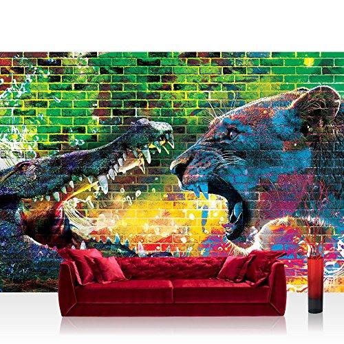 Vlies Fototapete 208x146cm PREMIUM PLUS Wand Foto Tapete Wand Bild Vliestapete - Graffiti Tapete Steinwand Steine Graffiti Tiere Krokodil Löwe Wasser bunt - no. 1918