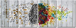 Visual Art Decor 4 Pieces Retro Left and Right Brain Advantage Canvas Poster Inspiration Motivation Education Science Canvas Prints Wall Art Gallery Large Modern Office Wall Decor Ready to Hang