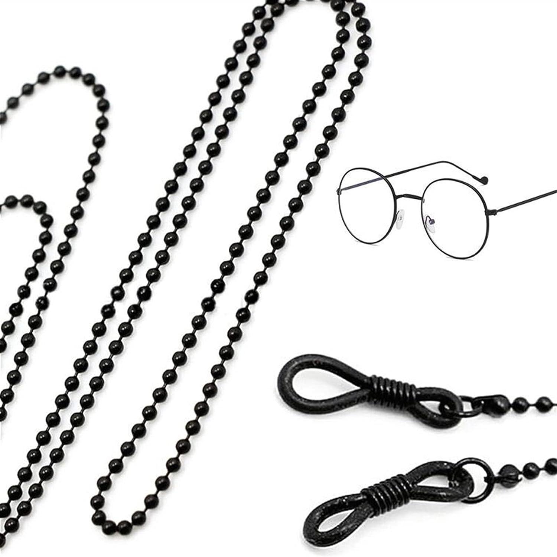 LOPQOI Stylish 2PC Black Metal Sunglasses Chain Fashion Non-Slip Hanging Glasses Decorations Easy-to-use Decorations (Color : Black, Size : 73)