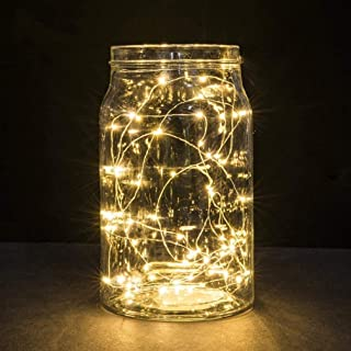 2 Pack Battery 2M 20 LED Silver Wire Fairy String Lights Firefly Lights DIY Decoration for Bedroom Jars Christmas Wedding ...