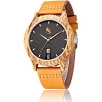 Tayope Bamboo Wood Leather Quartz Unisex Wristwatch (Multiple Color)