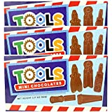 Kicko Mini Chocolate Tools - Saw, Wrench, Screwdriver, Plier, and more - 3 Sets of 8 Pieces, 3.17 Ounces per Set, 24 Delicious Tools Total