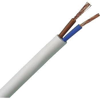 mm2 Kunststoff Schlauchleitung rund LED Kabel Leitung Ger/ätekabel H03VV-F 2x0,75 mm/² bis 250 m in 5 Meter Schritten frei w/ählbar - Farbe: wei/ß 10m//15m//20m//25m//30m//35m//40m//45m//50m//55m//60m usw