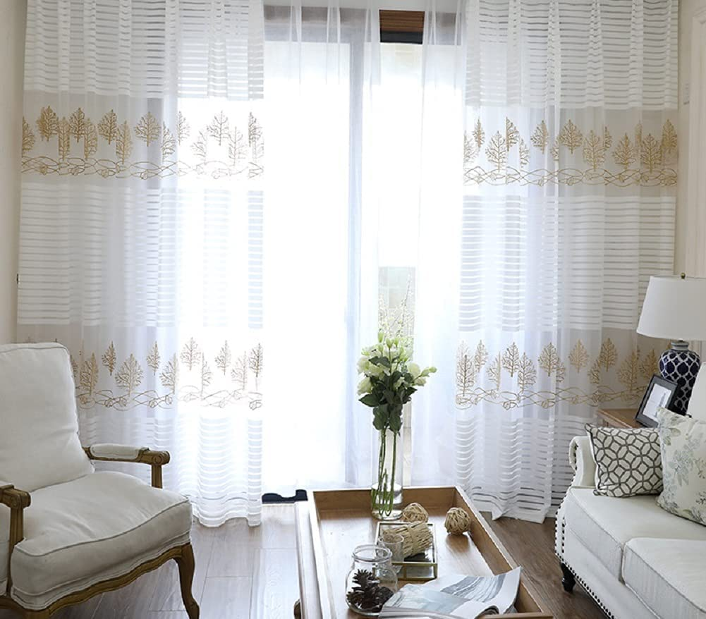 Iuokuby Gorgeous Style Transparent Voile Popular product Sheer Curtains Max 60% OFF Pock Rod