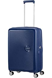 15G002-Nautical Blue Trolley Medio 67 Cm Spinner 4 Ruote American Tourister Wavebreaker