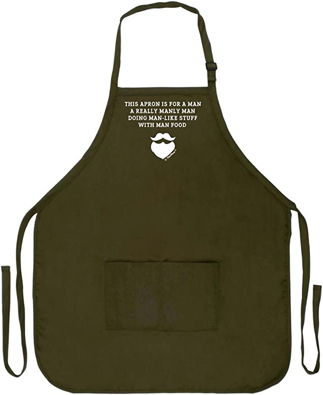 ThisWear Funny Aprons Men Really Manly Man Food Funny Grilling Apron Two Pocket Man Apron Military Olive Green