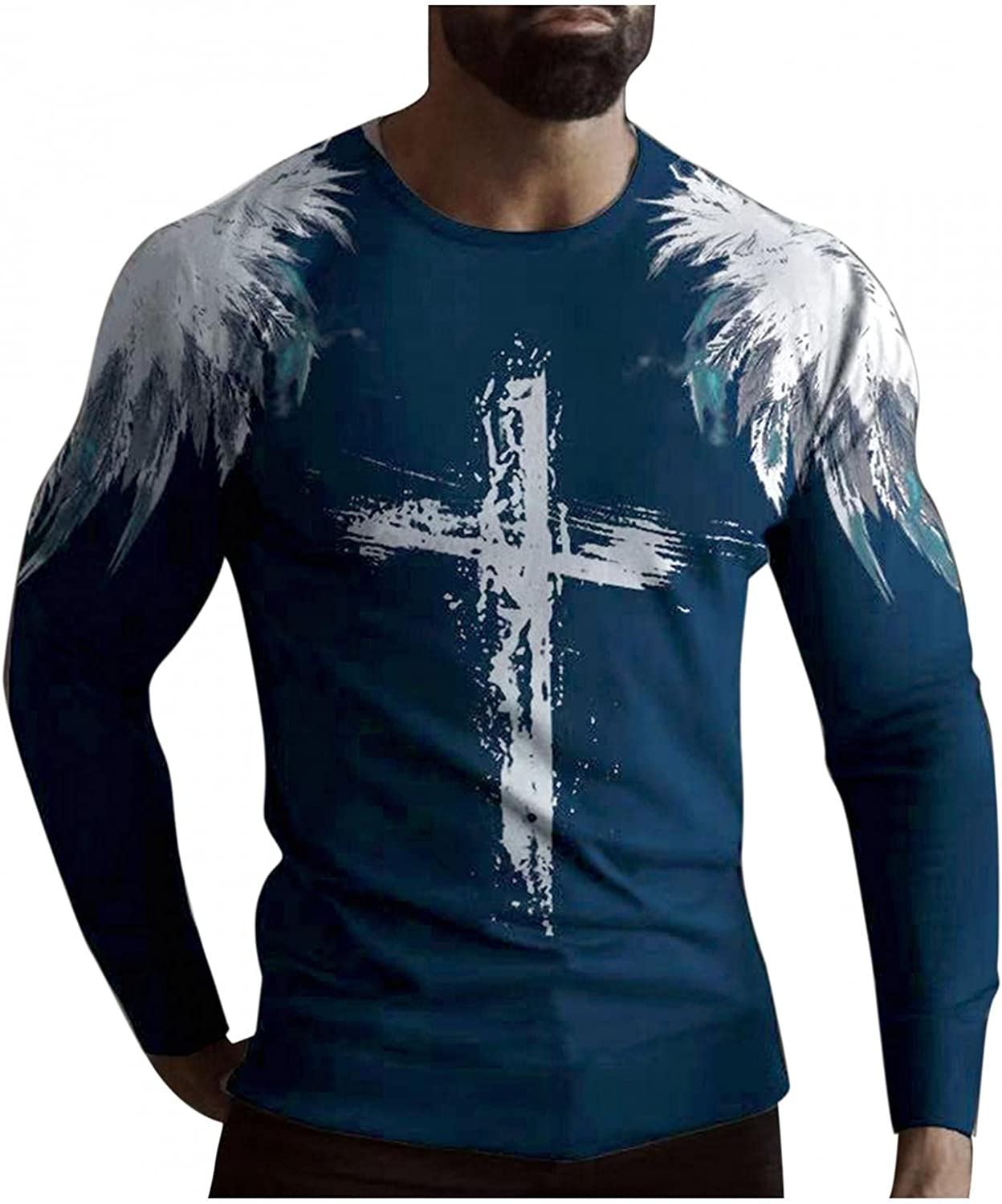 Shirts for Men Men's Casual Cross Feather Print Long-sleeve Tee Shirt for Men Top Round Neck T-Shirt Blouse Polo Mens Shirts