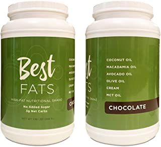 BEST FATS High-Fat Nutritional Shake - Low Carb Protein Powder with Healthy Fats - Perfect for Keto, Ketosis, Ketogenic, Low Insulin Diets - Meal Replacement Shake, Just Add Water (Chocolate)
