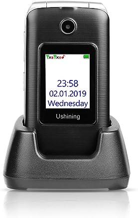 "Ushining 3G Unlocked Senior Flip Phone Dual Screen, FM Radio, Easy to Use Mobile Cell Phone, 2.4"" LCD and Large Keypad w/Charging Cradle (Black)"
