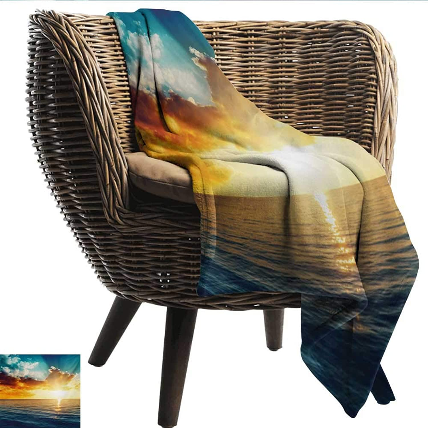 Anshesix Travel Throwing Blanket Ocean Majestic Sunset Over The Sea Scenic Idyllic Aquatic View Morning Picture Print Summer Quilt Comforter W60 xL51 Sofa,Picnic,Camping,Beach,Everyday use
