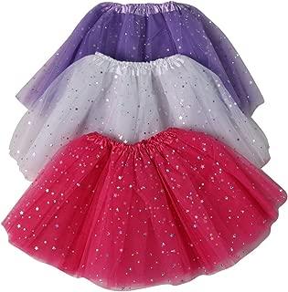 Girls Ballerina Sparkle or Chiffon Tutu Beginner 3 Pack Dress Up Set (Choose Color and Size)