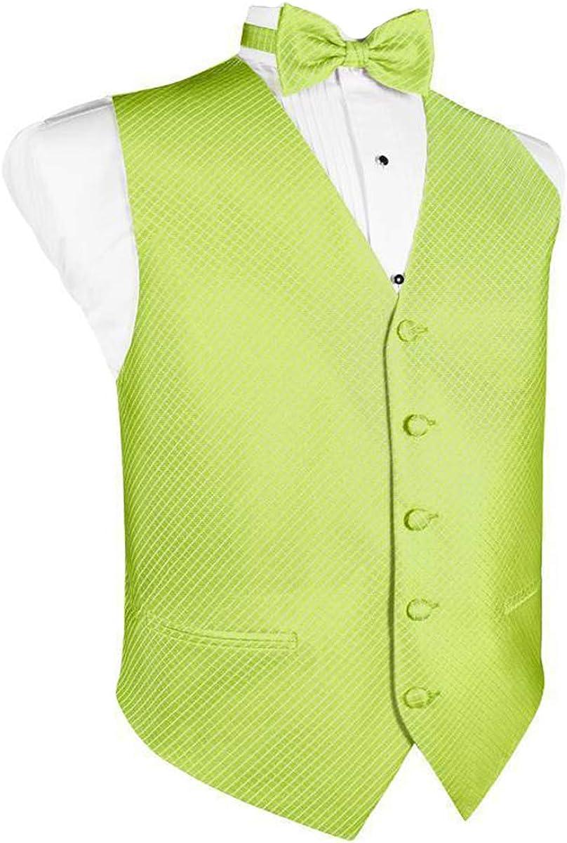 Men's Lime Grid Pattern Tuxedo Vest and Bow Tie