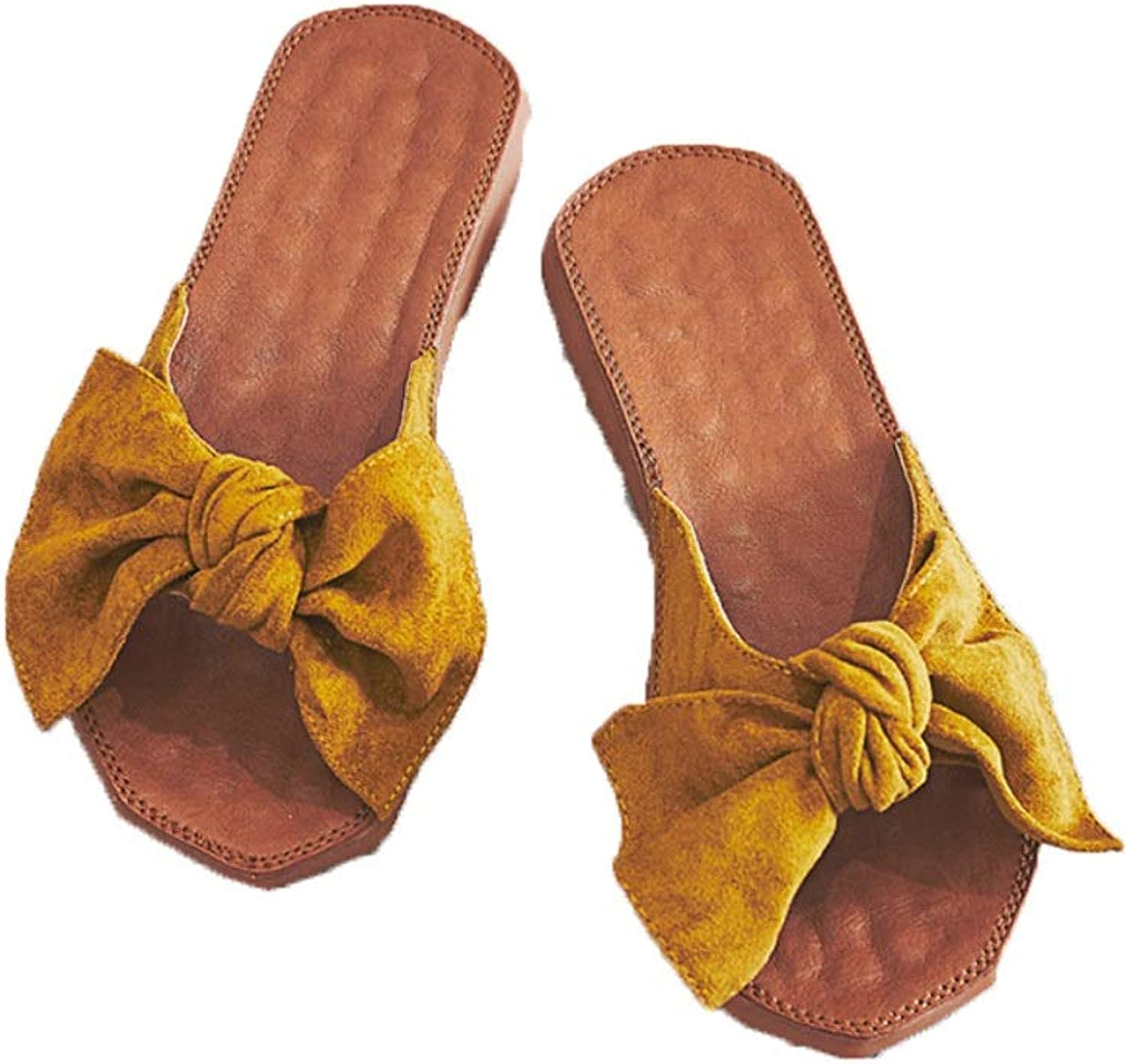 Ailj Women's Sandals, Woman's Slide with Sandals Canvas Knot Bow Summer Non-Slip Casual Sandals Bow Sandals Yellow