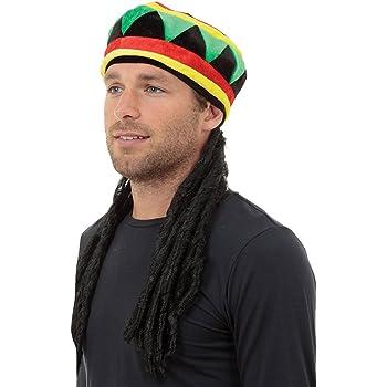 Nuevo De Mujer Hombre Adulto Jamaicano Sombrero Peluca con Rastas ...
