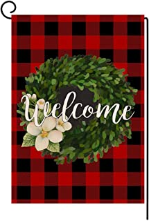BLKWHT Christmas Small Garden Flag Welcome Red Black Buffalo Boxwood Wreath Vertical Double Sided Winter Burlap Yard Outdoor Decor 12.5 x 18 Inches (102809)
