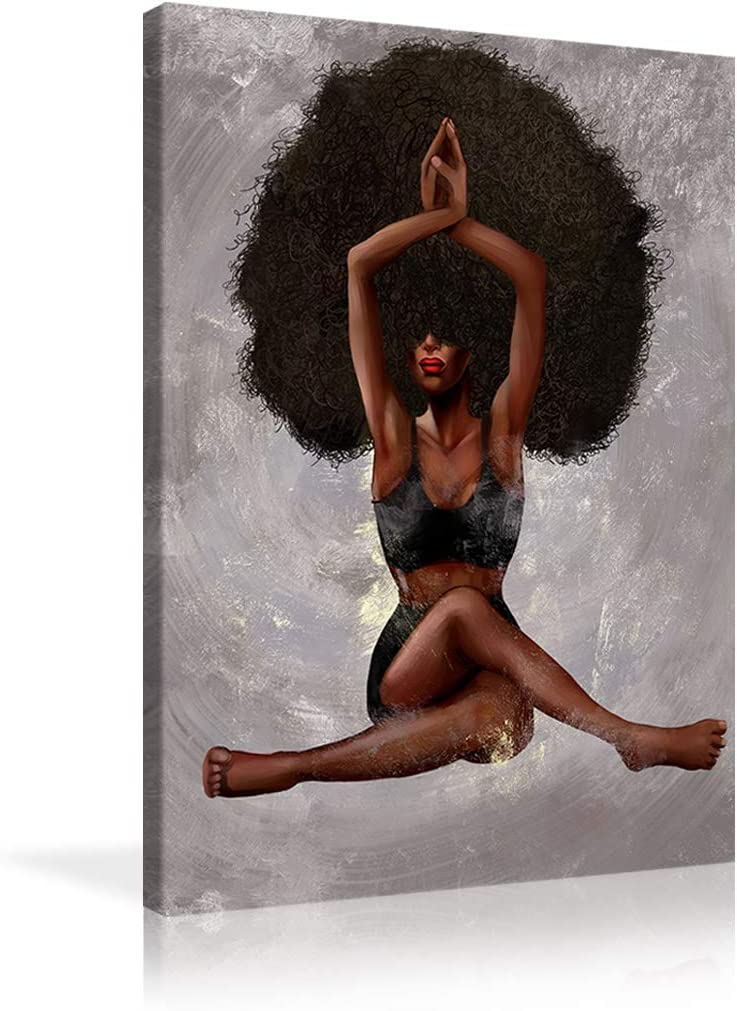 Black Excellent Art Wall Decor African Poste American Yoga Woman Paintings Free shipping New