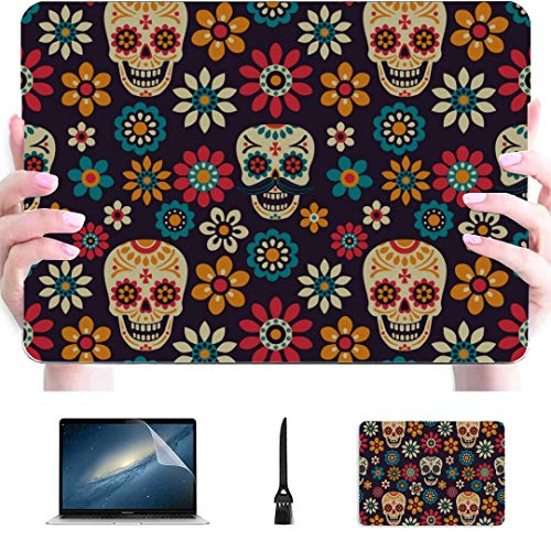 Macbook Pro 13inch Case Sugar Skulls And Flowers On Dark Plastic Hard Shell Compatible Mac Air 13' Pro 13'/16' Macbook Pro Accessories Protective Cover For Macbook 2016-2020 Version