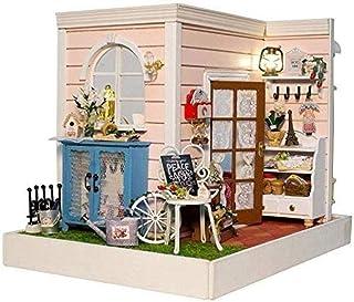XYZMDJ Handgjorda dockhus i trä, miniatyr-gör-det-själv-kit, trädockhus med möbelgåva