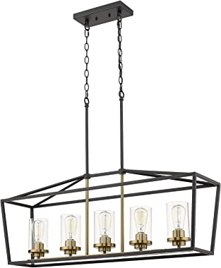 Emliviar Modern 5-Light Kitchen Island Pendant Light Fixture, Linear Pendant Lighting, Black and Gold Finish with Clear Glass