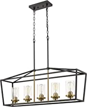 Emliviar Modern 5-Light Kitchen Island Pendant Light Fixture, Linear Pendant Lighting, Black and Gold Finish with Clear Gl...