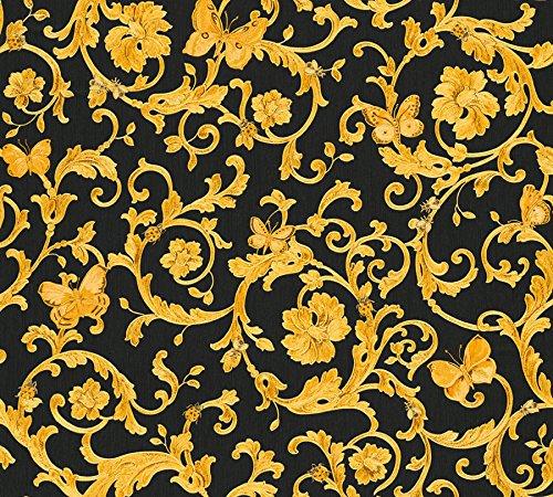 Carte da parati Versace 3 collezione home lusso stampa floreale con farfalle nero e oro e dettagli floreali 34325-2.
