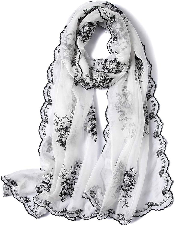 Spring Silk Scarves Women's Embroidered Wild Scarves Long Embroidered Shawl Scarves