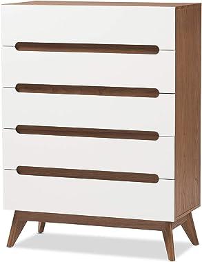 Baxton Studio Calypso Mid-Century Modern White and Walnut Wood 5-Drawer Storage Chest Mid-Century/White/Walnut Brown/Particle