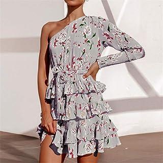 Mujer FYERM Vestido Vestido de Fiesta de Gasa de Playa de Verano Vestido de Manga Corta a Lunares Casual Vestido de Fiesta Elegante con Cuello en v Sundress S