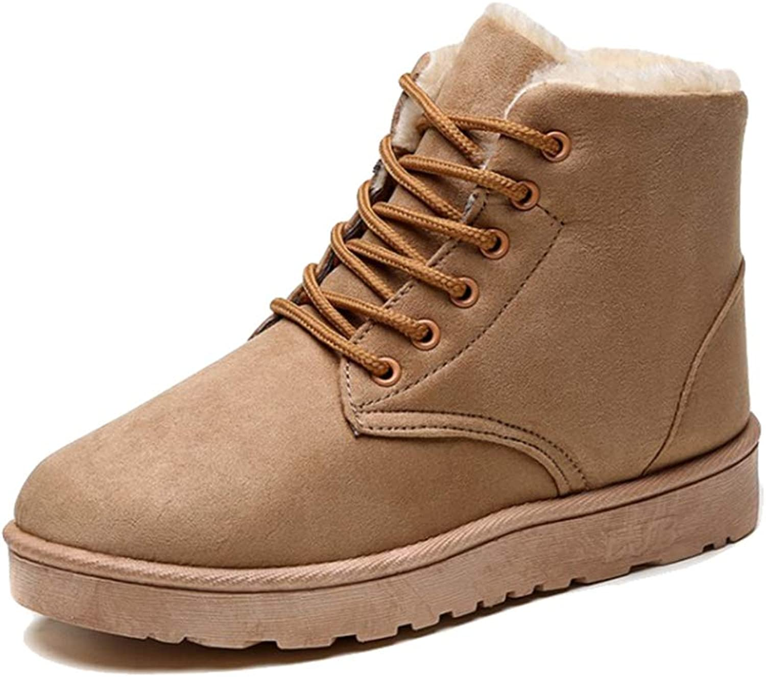York Zhu Women's Boots,Faux Suede Outdoor Winter Casual shoes Female Snow Bootsv