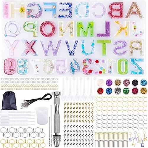 Frasheng Molde Silicona Resina,Kit de Molde Silicona Letras Resina,353 Piezas de Resina Molde de...