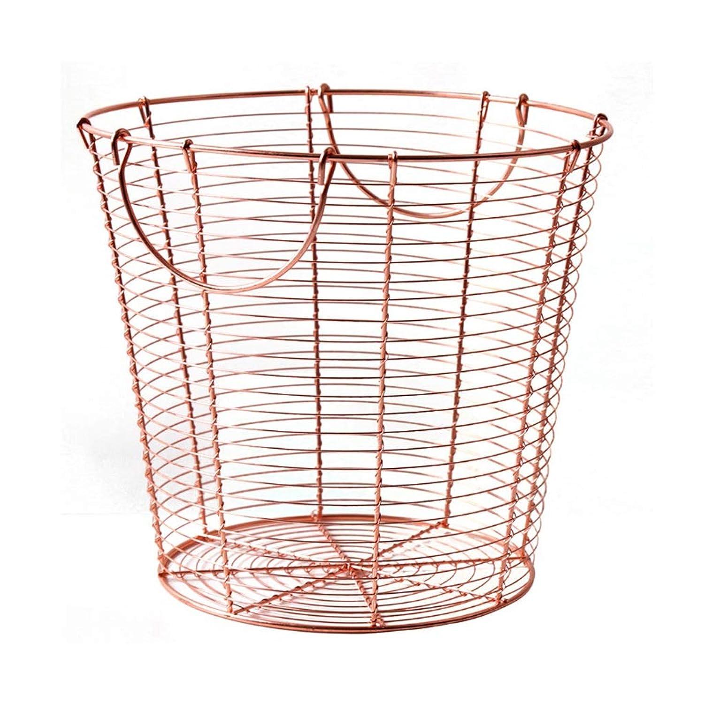 錬鉄製の収納バスケットの寝室の障害物、ハンドハンドルデザイン、ローズゴールド SMMRB
