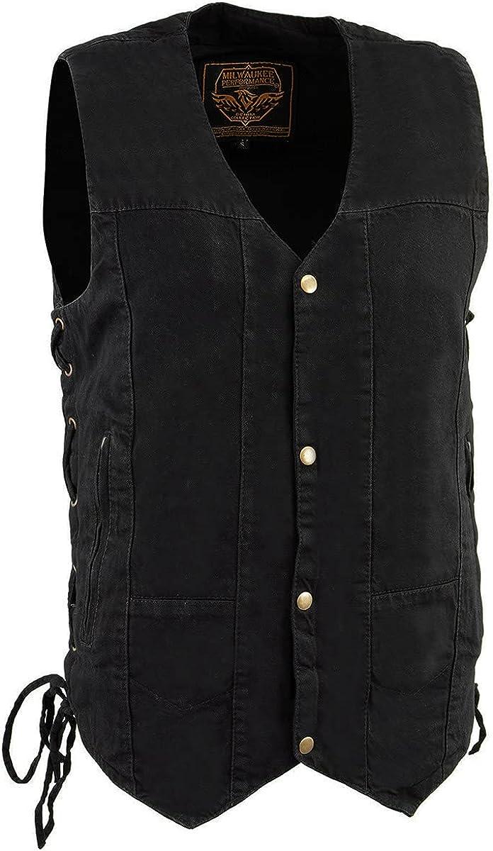 Milwaukee Leather DM1990 Men's Black 10 Pocket Side Lace Denim Vest
