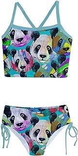 Kid Girls Swimsuits Gradient Happy Birthday Panda & Circus Theme 2-Piece Tankini Size 2-16