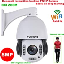YUCHENG 5MP Wireless 20X Zoom Humanoid Auto Track IR PTZ Speed IP Camera Humanoid Recognition Build in MIC Speaker 128GB sd Card (No SD Card)