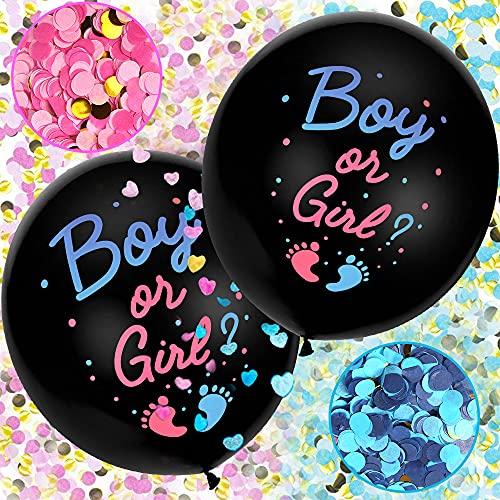 Aurasky Gender Reveal Ballon, 2pcs XXL Geschlecht Offenbaren Ballon, Geschlecht Verkünden Ballon, Boy or Girl Konfetti Füllung Rosa Blau Offenbaren Ballon, Baby Shower Party Dekorationen