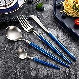 WHWH Set de Cubiertos,Juego de Cubiertos Western de Cuatro Piezas Vajilla Pulida Espejo Lavavajillas Safe-Blue Silver