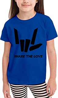 Share The Love Unisex Youth's Short Sleeve T-Shirt, Kids T-Shirt Tops Gray
