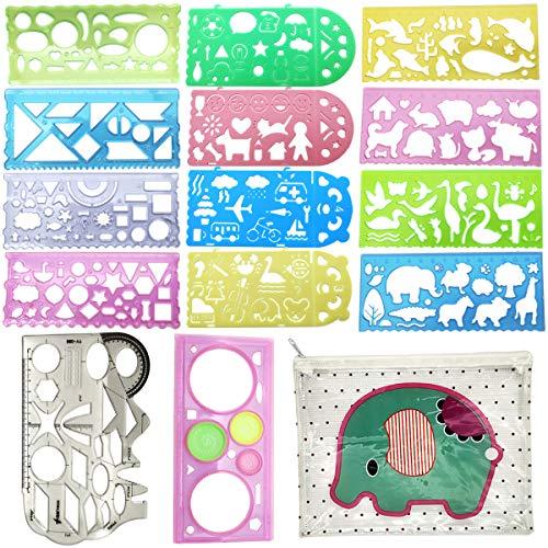14 piezas Regla Geométrica Multifuncional, Estudiantes Pintura Papelería Multifunción, Conjunto de Regla de Plantilla Geométrica Hueca de Plástico, para la Oficina en el Aula de la Escuela