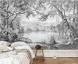 Papel Pintado 3D Bosque Blanco Y Negro Dibujado A Mano Jungla Fotomurales 3D Tv Fondo Pared Dormitorio Murales Papel Tapiz Moderno 150cmX105cm