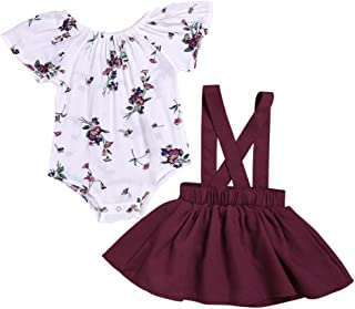 Weixinbuy Newborn Baby Girl Skirt Sets Floral Romper Tops + Overalls Skirt Dresses