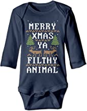DX&PPF Merry Xmas Ya Filthy Animal Funny Toddler Baby Long Sleeve Baby Crawling Jumpsuit Rompers